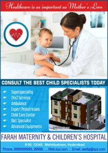 Creative-Medical-Ads-by-Media-Plus-Farah-Hospital-for-Children-Hyderabad. To book your advertisement call 9395381226